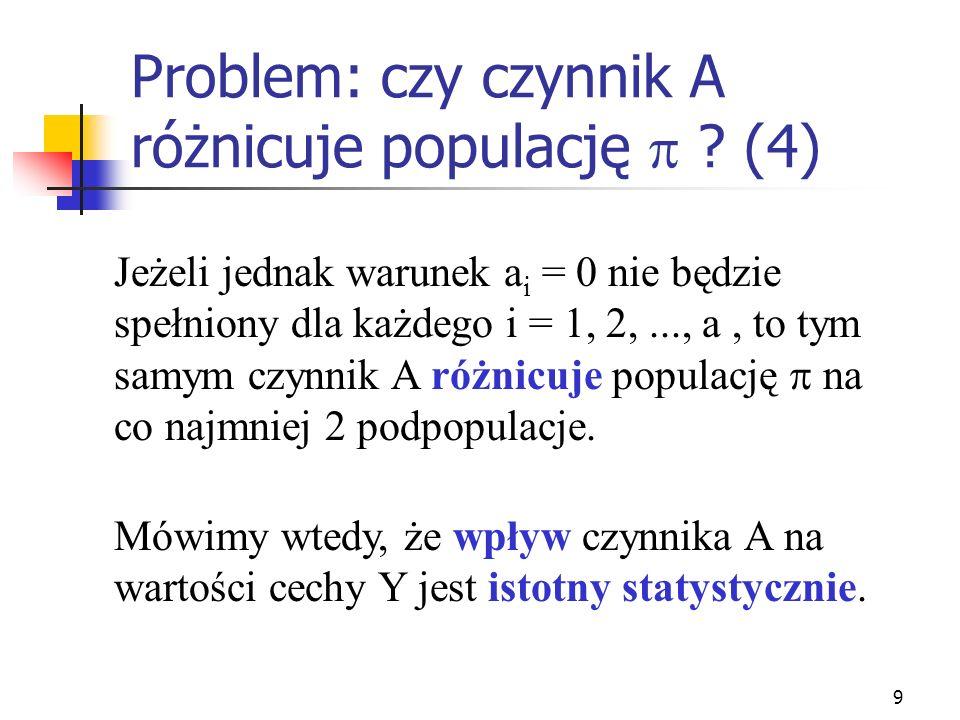9 Problem: czy czynnik A różnicuje populację ? (4) Jeżeli jednak warunek a i = 0 nie będzie spełniony dla każdego i = 1, 2,..., a, to tym samym czynni