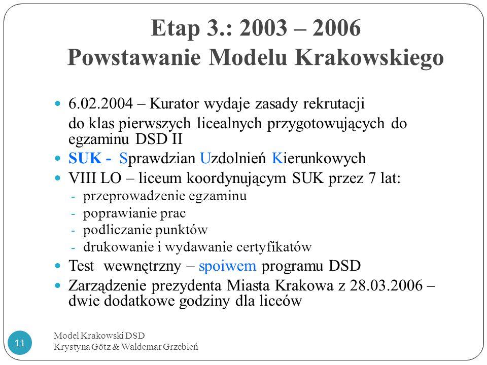 6.02.2004 – Kurator wydaje zasady rekrutacji do klas pierwszych licealnych przygotowujących do egzaminu DSD II SUK - Sprawdzian Uzdolnień Kierunkowych