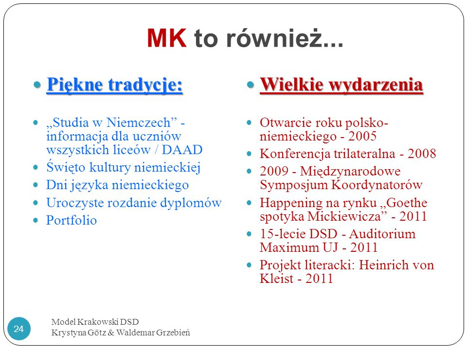 MK to również... Model Krakowski DSD Krystyna Götz & Waldemar Grzebień 24 Piękne tradycje: Piękne tradycje: Studia w Niemczech - informacja dla ucznió