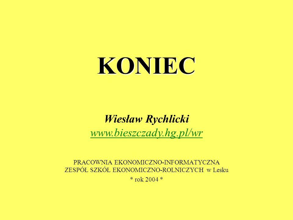 KONIEC PRACOWNIA EKONOMICZNO-INFORMATYCZNA ZESPÓŁ SZKÓŁ EKONOMICZNO-ROLNICZYCH w Lesku * rok 2004 * Wiesław Rychlicki www.bieszczady.hg.pl/wr www.bies