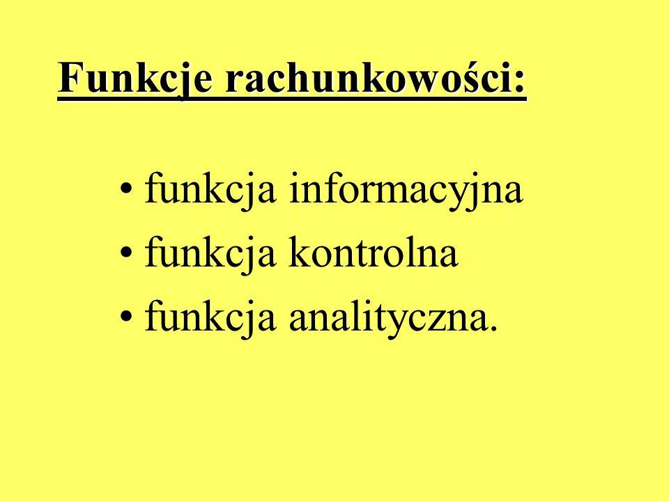 Funkcje rachunkowości: funkcja informacyjna funkcja kontrolna funkcja analityczna.
