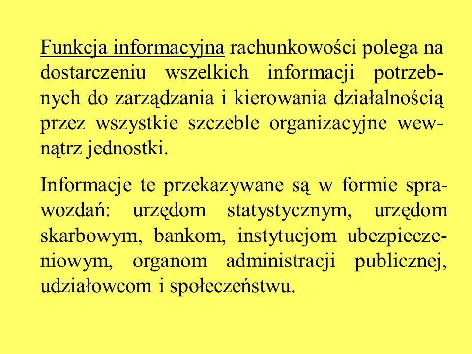 Funkcja informacyjna Funkcja informacyjna rachunkowości polega na dostarczeniu wszelkich informacji potrzeb- nych do zarządzania i kierowania działaln