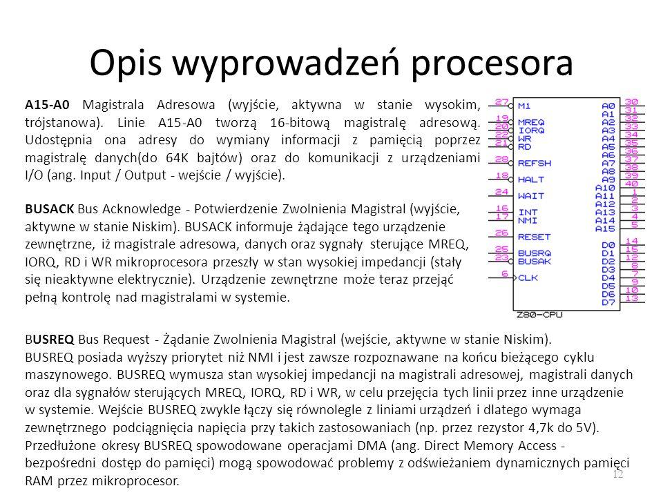 Opis wyprowadzeń procesora 12 A15-A0 Magistrala Adresowa (wyjście, aktywna w stanie wysokim, trójstanowa).