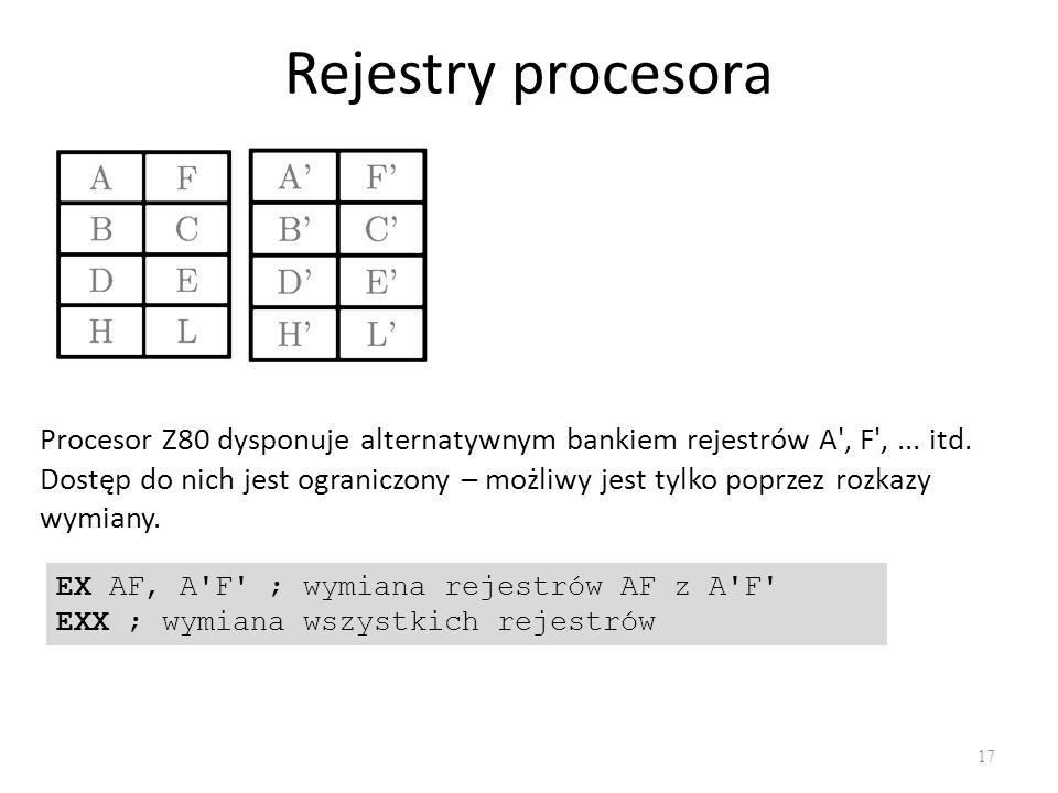 Rejestry procesora 17 Procesor Z80 dysponuje alternatywnym bankiem rejestrów A', F',... itd. Dostęp do nich jest ograniczony – możliwy jest tylko popr