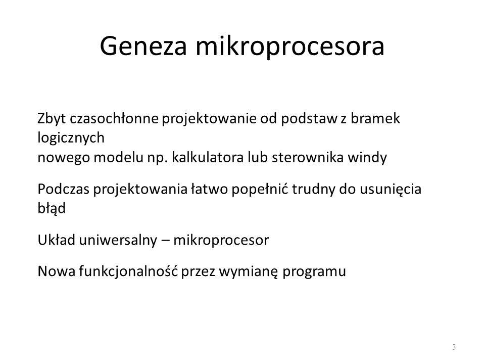 Geneza mikroprogramowania 4 Zbyt czasochłonne projektowanie od podstaw z bramek logicznych nowej jednostki sterującej (mikro)procesora Podczas projektowania łatwo popełnić trudny do usunięcia błąd Uniwersalna jednostka sterująca Nowa funkcjonalność przez wymianę mikroprogramu