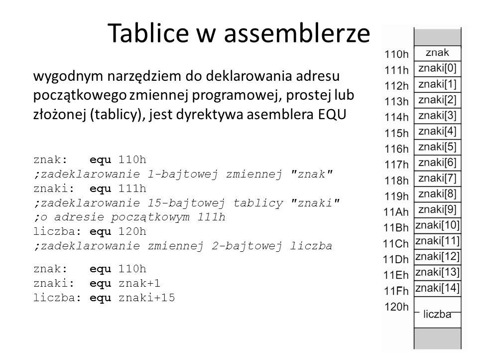 Tablice w assemblerze 37 wygodnym narzędziem do deklarowania adresu początkowego zmiennej programowej, prostej lub złożonej (tablicy), jest dyrektywa asemblera EQU znak: equ 110h ;zadeklarowanie 1-bajtowej zmiennej znak znaki: equ 111h ;zadeklarowanie 15-bajtowej tablicy znaki ;o adresie początkowym 111h liczba: equ 120h ;zadeklarowanie zmiennej 2-bajtowej liczba znak: equ 110h znaki: equ znak+1 liczba: equ znaki+15