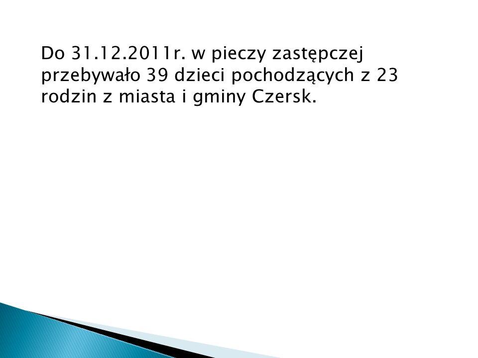 Do 31.12.2011r. w pieczy zastępczej przebywało 39 dzieci pochodzących z 23 rodzin z miasta i gminy Czersk.