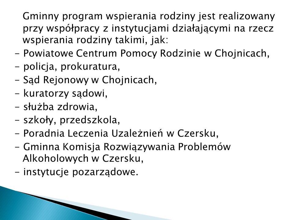 Gminny program wspierania rodziny jest realizowany przy współpracy z instytucjami działającymi na rzecz wspierania rodziny takimi, jak: - Powiatowe Ce