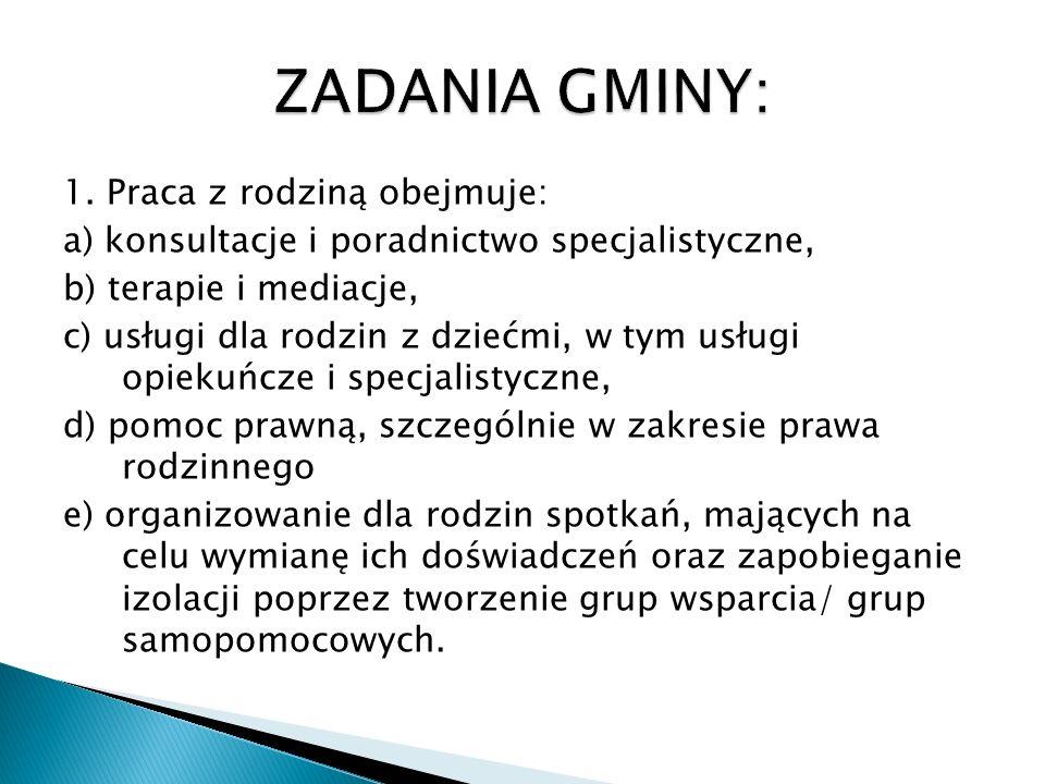 Gminny program wspierania rodziny jest realizowany przy współpracy z instytucjami działającymi na rzecz wspierania rodziny takimi, jak: - Powiatowe Centrum Pomocy Rodzinie w Chojnicach, - policja, prokuratura, - Sąd Rejonowy w Chojnicach, - kuratorzy sądowi, - służba zdrowia, - szkoły, przedszkola, - Poradnia Leczenia Uzależnień w Czersku, - Gminna Komisja Rozwiązywania Problemów Alkoholowych w Czersku, - instytucje pozarządowe.