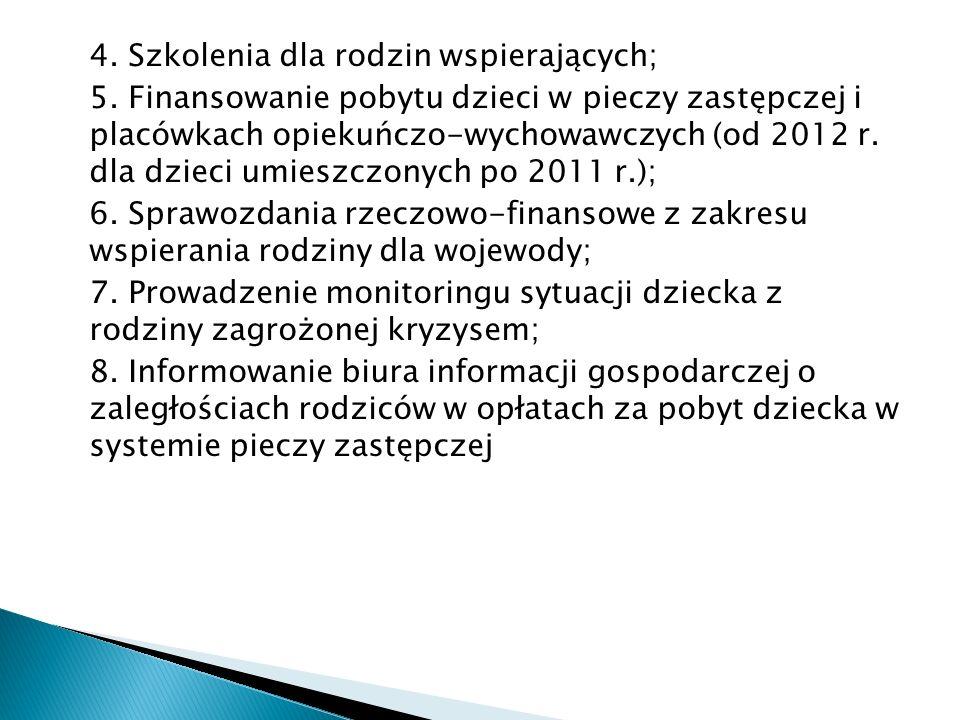 4. Szkolenia dla rodzin wspierających; 5. Finansowanie pobytu dzieci w pieczy zastępczej i placówkach opiekuńczo-wychowawczych (od 2012 r. dla dzieci