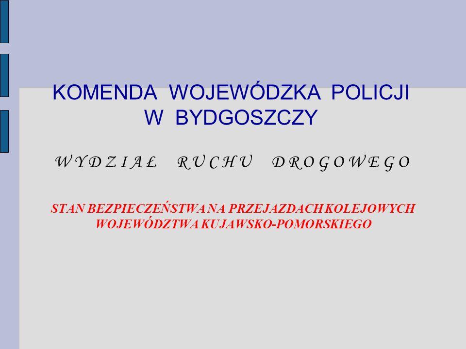 KOMENDA WOJEWÓDZKA POLICJI W BYDGOSZCZY W Y D Z I A Ł R U C H U D R O G O W E G O STAN BEZPIECZEŃSTWA NA PRZEJAZDACH KOLEJOWYCH WOJEWÓDZTWA KUJAWSKO-P