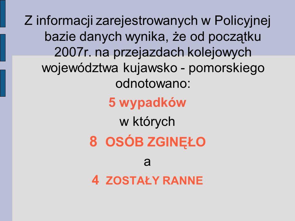 Z informacji zarejestrowanych w Policyjnej bazie danych wynika, że od początku 2007r. na przejazdach kolejowych województwa kujawsko - pomorskiego odn