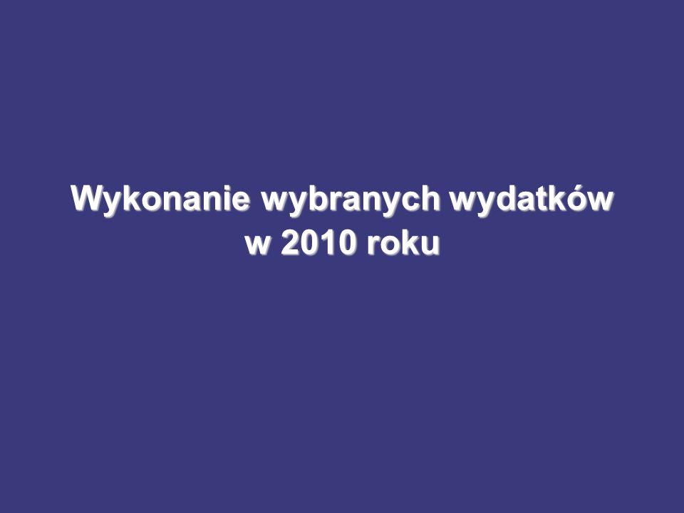 Wykonanie wybranych wydatków w 2010 roku