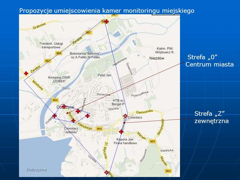 Propozycje umiejscowienia kamer monitoringu miejskiego Strefa 0 Centrum miasta Strefa Z zewnętrzna