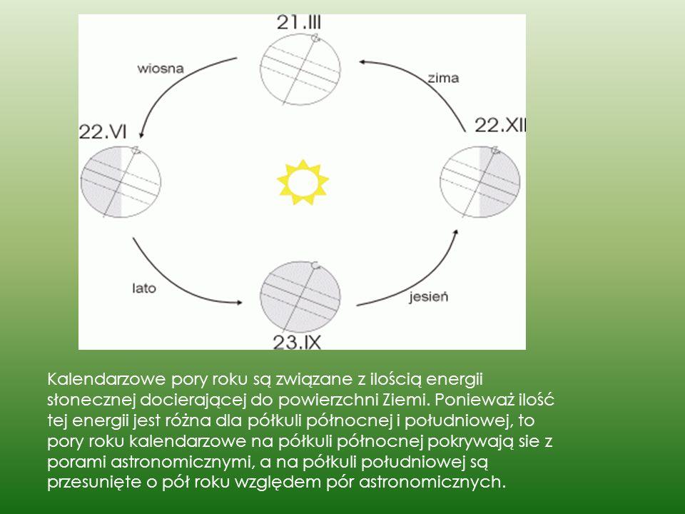 Kalendarzowe pory roku są związane z ilością energii słonecznej docierającej do powierzchni Ziemi. Ponieważ ilość tej energii jest różna dla półkuli p