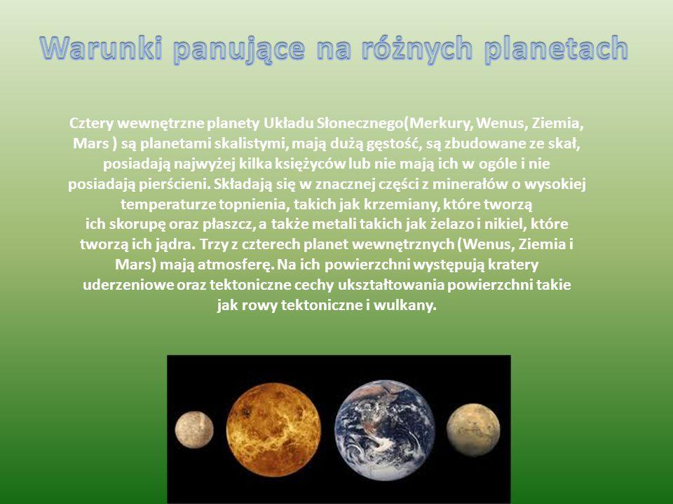 Cztery wewnętrzne planety Układu Słonecznego(Merkury, Wenus, Ziemia, Mars ) są planetami skalistymi, mają dużą gęstość, są zbudowane ze skał, posiadają najwyżej kilka księżyców lub nie mają ich w ogóle i nie posiadają pierścieni.
