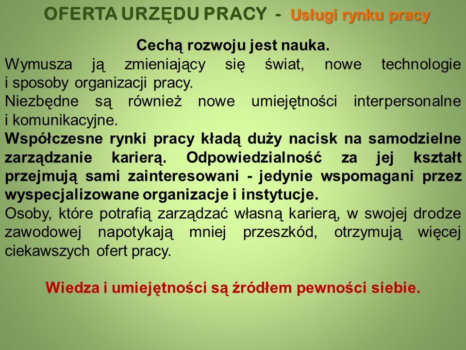 Usługi rynku pracy OFERTA URZ Ę DU PRACY - Usługi rynku pracy Cechą rozwoju jest nauka.