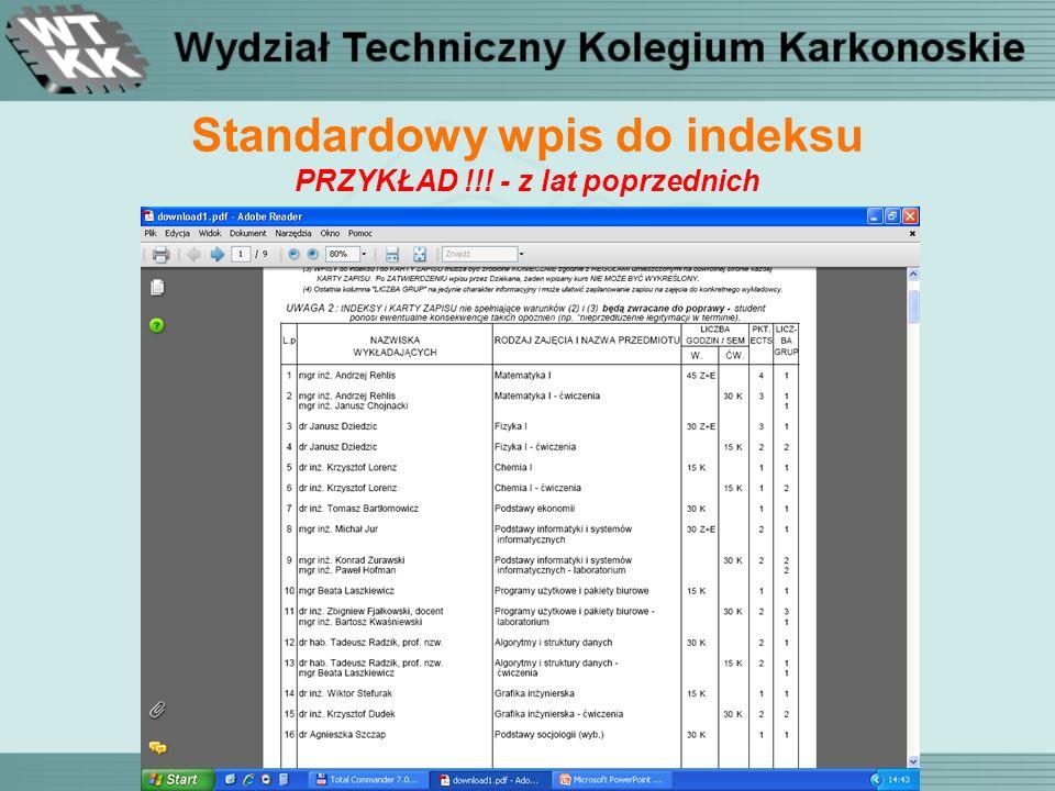Standardowy wpis do indeksu PRZYKŁAD !!! - z lat poprzednich