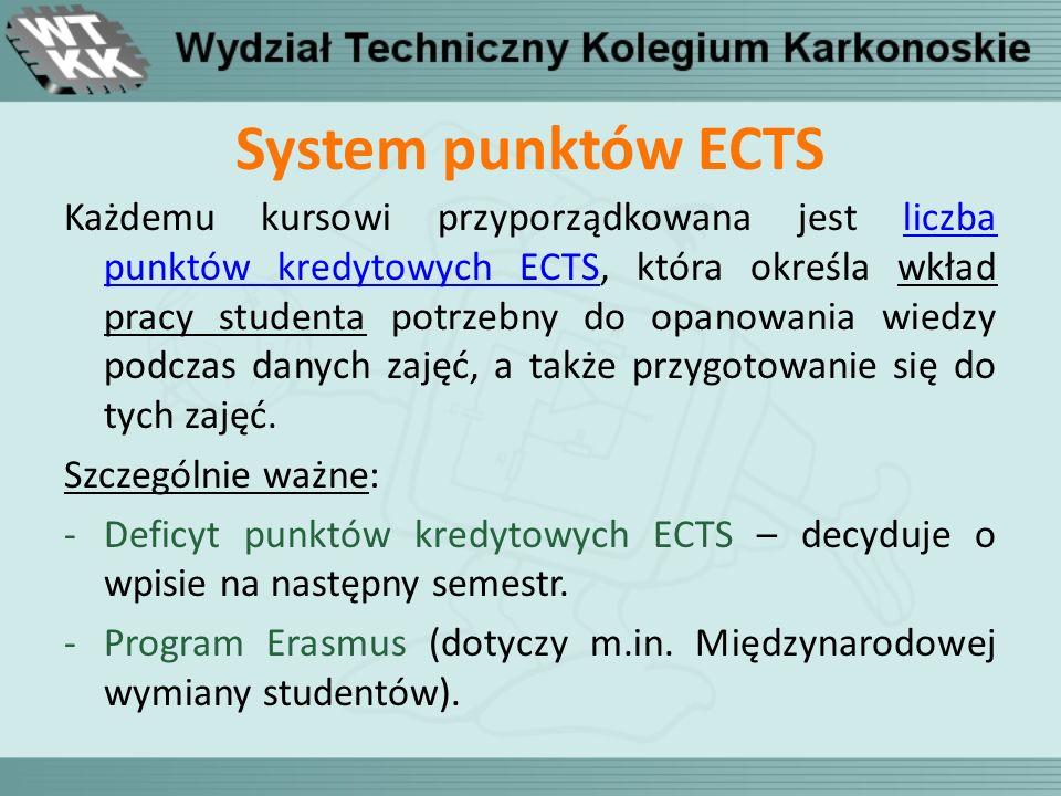 System punktów ECTS Każdemu kursowi przyporządkowana jest liczba punktów kredytowych ECTS, która określa wkład pracy studenta potrzebny do opanowania