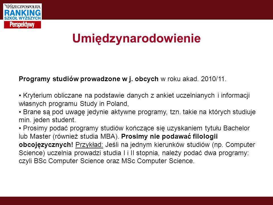 Umiędzynarodowienie Programy studiów prowadzone w j. obcych w roku akad. 2010/11. Kryterium obliczane na podstawie danych z ankiet uczelnianych i info