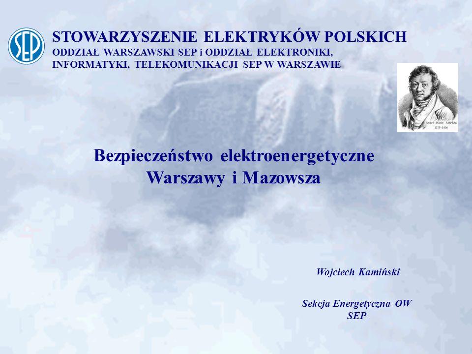 STOWARZYSZENIE ELEKTRYKÓW POLSKICH ODDZIAŁ WARSZAWSKI SEP i ODDZIAŁ ELEKTRONIKI, INFORMATYKI, TELEKOMUNIKACJI SEP W WARSZAWIE dociążenie stacji 400/110 kV Mościska - wprowadzenie 4 torów linii 110 kV - zainstalowanie 2-giej jednostki transformatorowej 330 MVA rozbudowa stacji 220/110 kV Towarowa: - zainstalowanie 2-giego transformatora 160 MVA - zmiana zasilania stacji z sieci 220 kV Niezbędne zidentyfikowane działania (1)