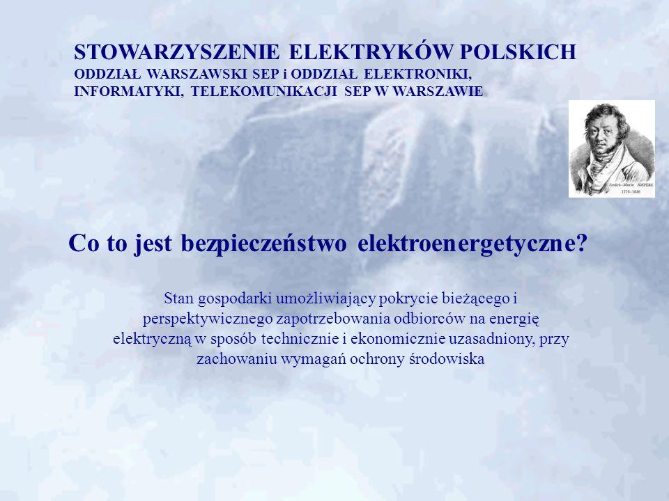 STOWARZYSZENIE ELEKTRYKÓW POLSKICH ODDZIAŁ WARSZAWSKI SEP i ODDZIAŁ ELEKTRONIKI, INFORMATYKI, TELEKOMUNIKACJI SEP W WARSZAWIE Niezbędne zidentyfikowane działania (2) zainstalowanie transformatorów NN/110 kV w stacjach: - Płock 330 MVA, 400/110 kV - Sochaczew 160 MVA, 220/110 kV