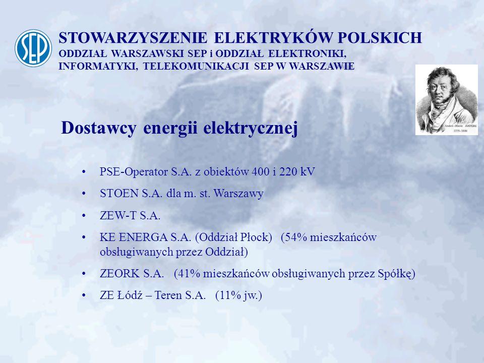 STOWARZYSZENIE ELEKTRYKÓW POLSKICH ODDZIAŁ WARSZAWSKI SEP i ODDZIAŁ ELEKTRONIKI, INFORMATYKI, TELEKOMUNIKACJI SEP W WARSZAWIE Dostawcy energii elektry