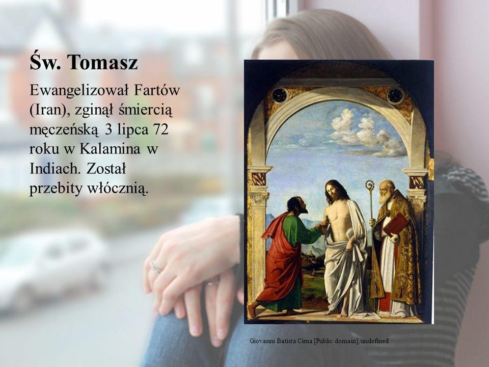 Św. Tomasz Ewangelizował Fartów (Iran), zginął śmiercią męczeńską 3 lipca 72 roku w Kalamina w Indiach. Został przebity włócznią. Giovanni Batista Cim