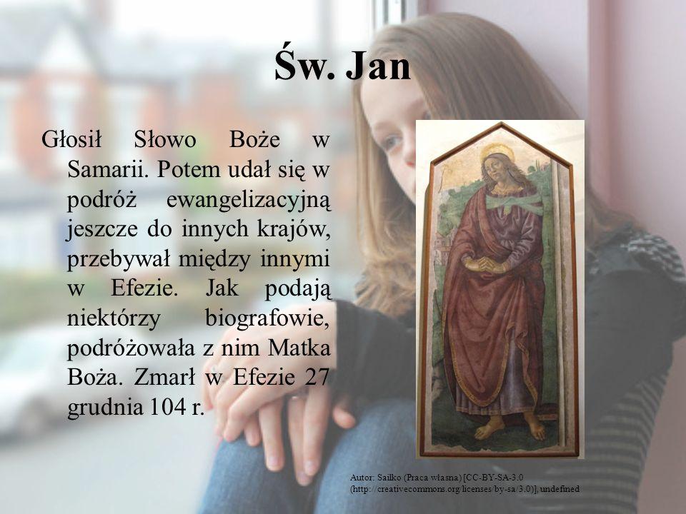 Św. Jan Głosił Słowo Boże w Samarii. Potem udał się w podróż ewangelizacyjną jeszcze do innych krajów, przebywał między innymi w Efezie. Jak podają ni
