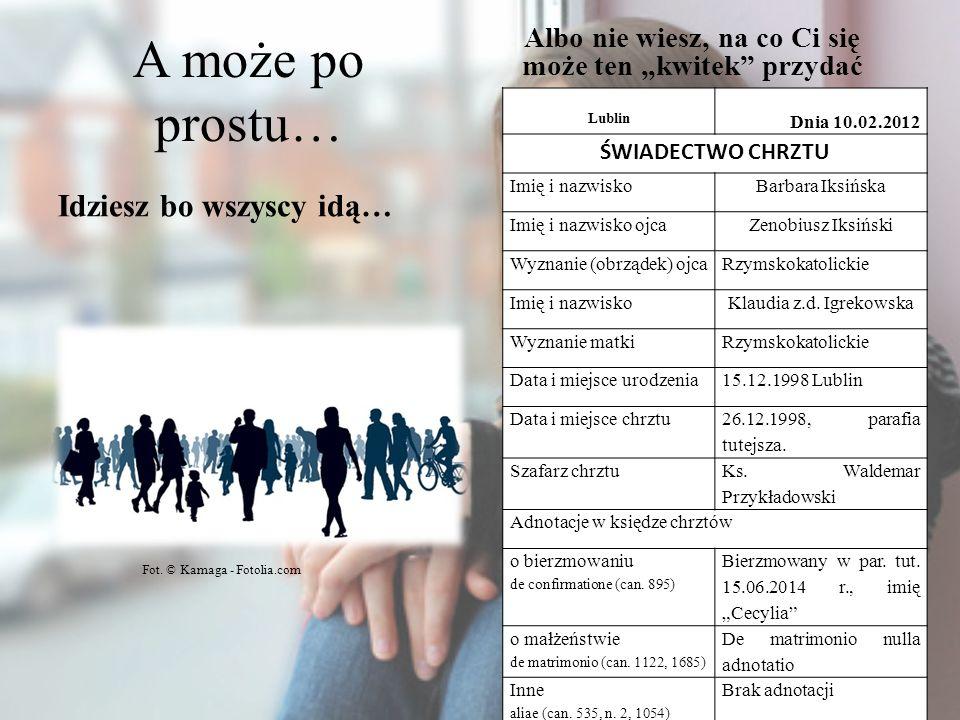 A może po prostu… Idziesz bo wszyscy idą… Albo nie wiesz, na co Ci się może ten kwitek przydać Lublin Dnia 10.02.2012 ŚWIADECTWO CHRZTU Imię i nazwisk