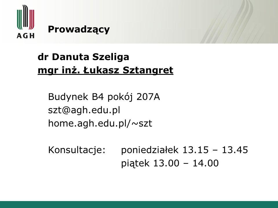 Prowadzący dr Danuta Szeliga mgr inż. Łukasz Sztangret Budynek B4 pokój 207A szt@agh.edu.pl home.agh.edu.pl/~szt Konsultacje:poniedziałek 13.15 – 13.4