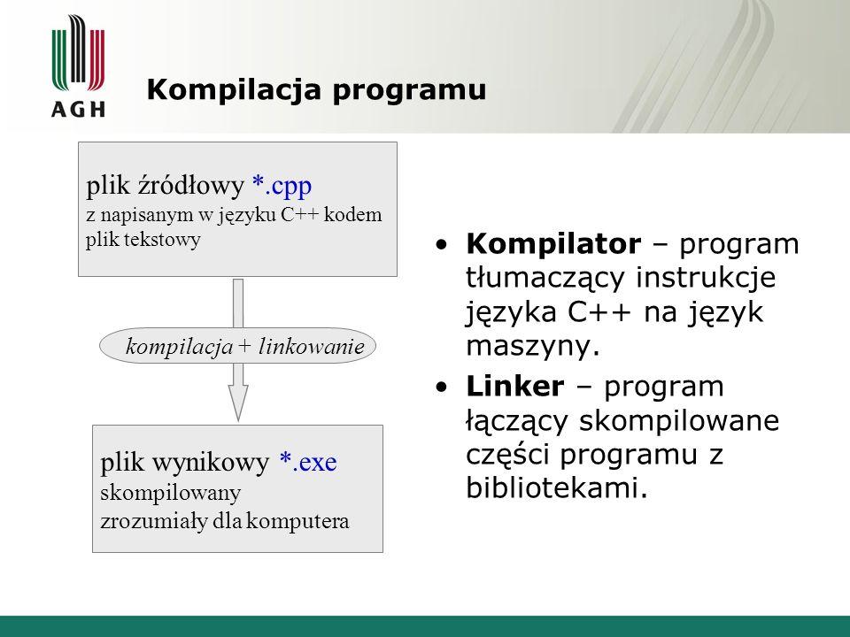 Kompilacja programu Kompilator – program tłumaczący instrukcje języka C++ na język maszyny. Linker – program łączący skompilowane części programu z bi
