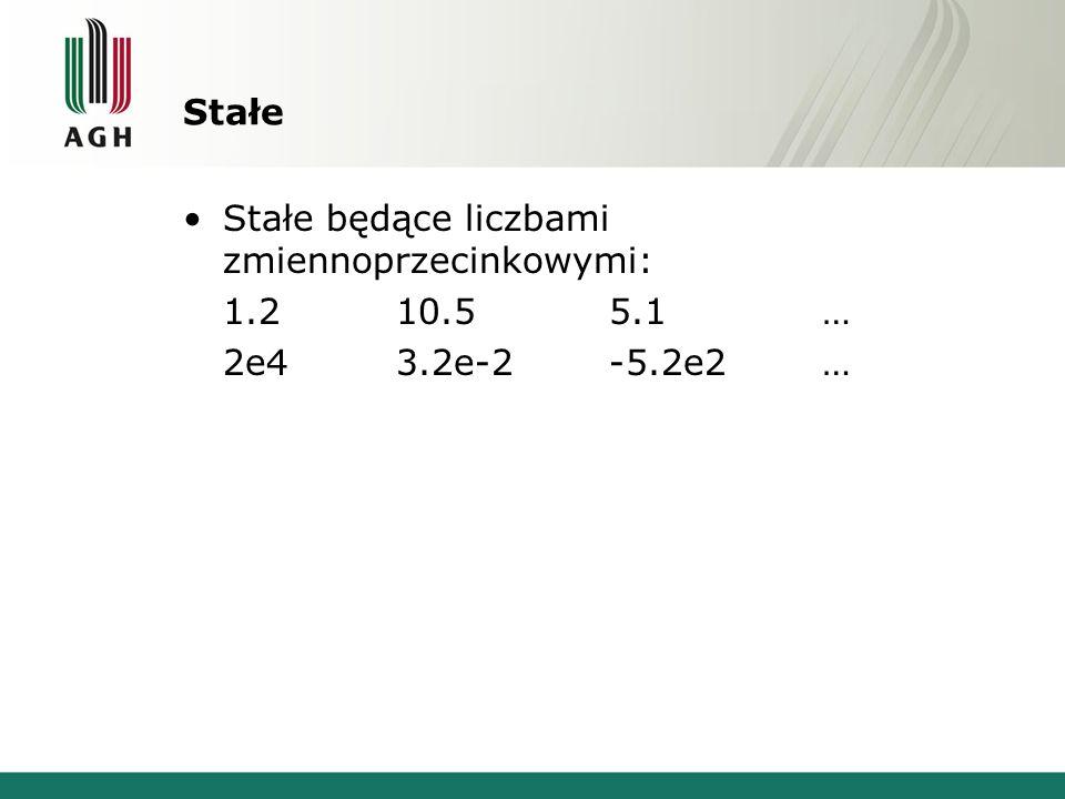 Stałe Stałe będące liczbami zmiennoprzecinkowymi: 1.210.55.1… 2e43.2e-2-5.2e2…