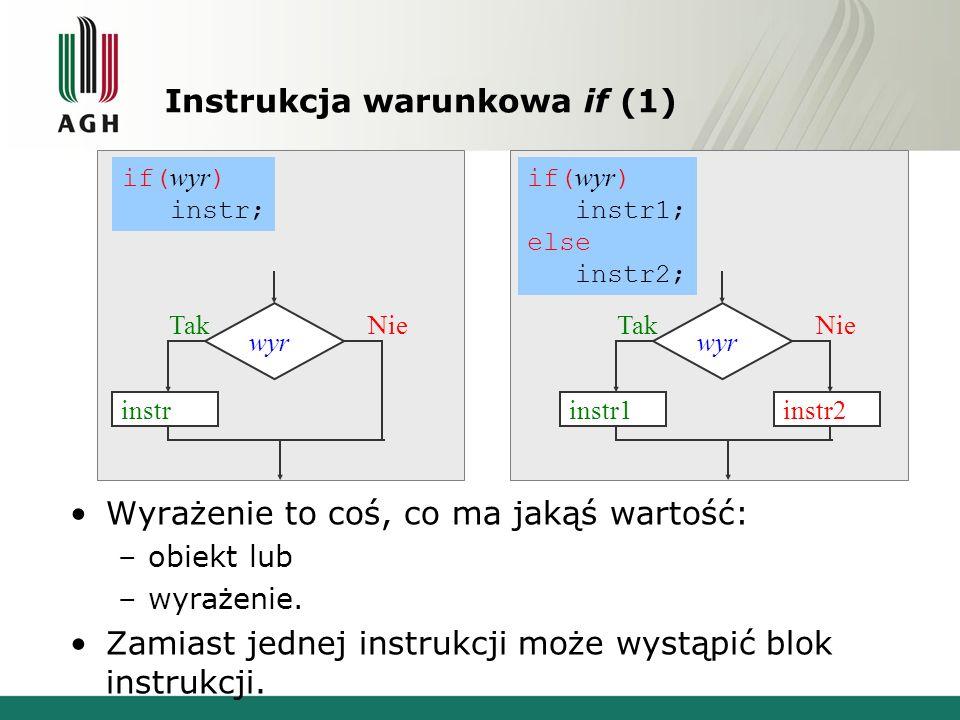 Instrukcja warunkowa if (1) Wyrażenie to coś, co ma jakąś wartość: –obiekt lub –wyrażenie. Zamiast jednej instrukcji może wystąpić blok instrukcji. if