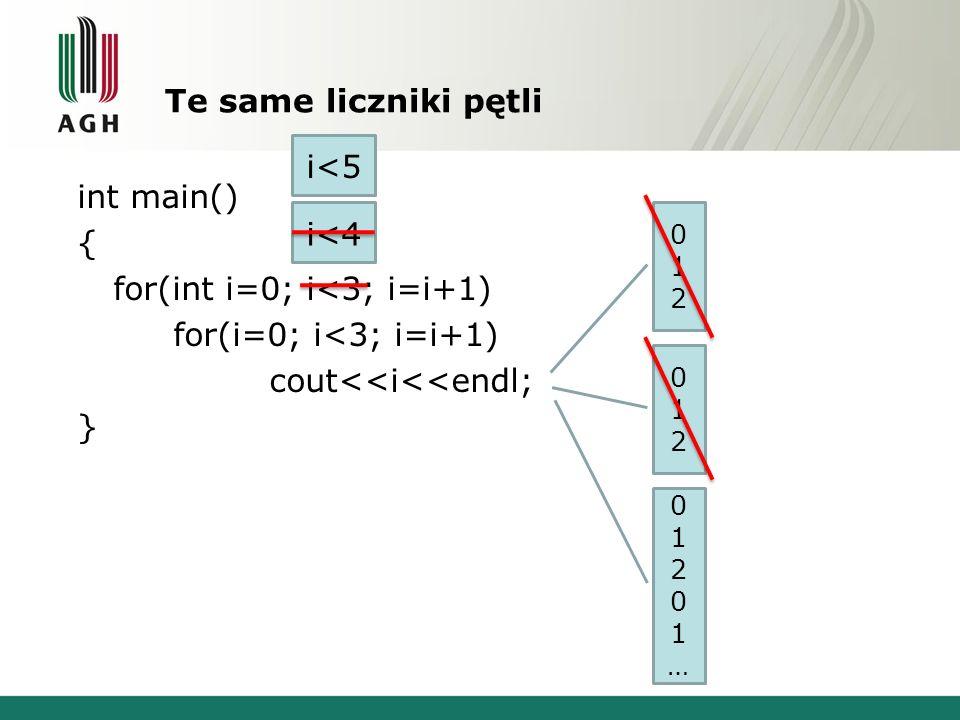 Te same liczniki pętli int main() { for(int i=0; i<3; i=i+1) for(i=0; i<3; i=i+1) cout<<i<<endl; } 012012 i<4 012012 i<5 01201…01201…