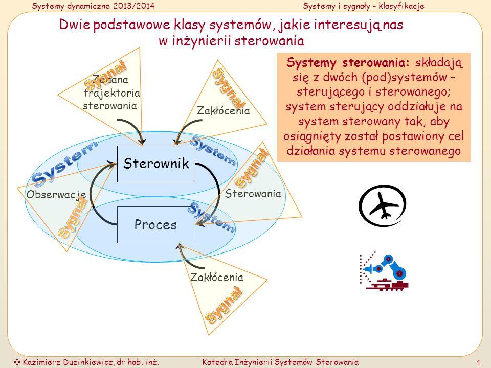Systemy dynamiczne 2013/2014Systemy i sygnały - klasyfikacje Kazimierz Duzinkiewicz, dr hab. inż.Katedra Inżynierii Systemów Sterowania 1 Dwie podstaw