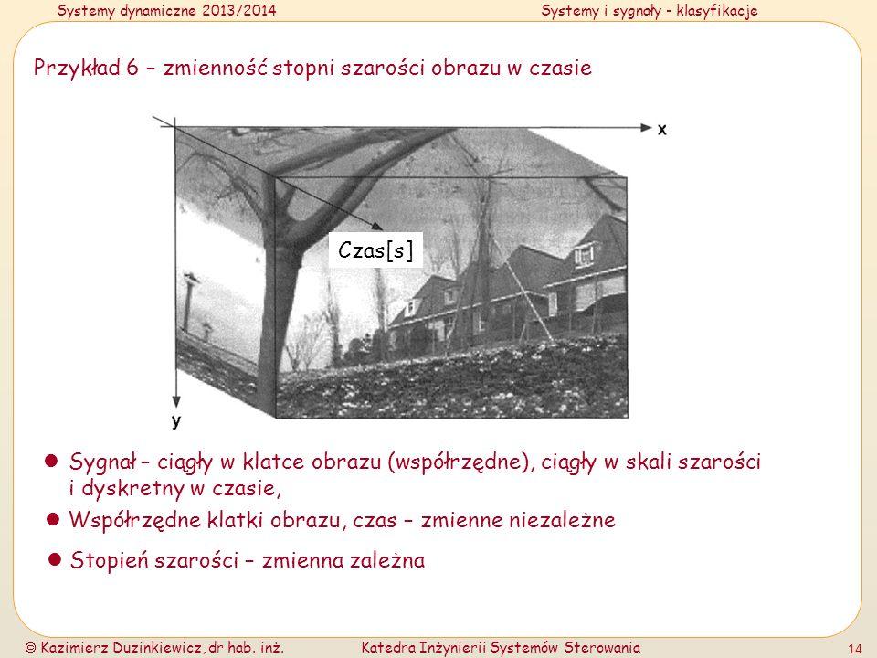 Systemy dynamiczne 2013/2014Systemy i sygnały - klasyfikacje Kazimierz Duzinkiewicz, dr hab. inż.Katedra Inżynierii Systemów Sterowania 14 Przykład 6