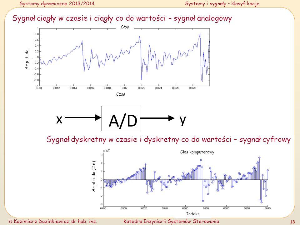 Systemy dynamiczne 2013/2014Systemy i sygnały - klasyfikacje Kazimierz Duzinkiewicz, dr hab. inż.Katedra Inżynierii Systemów Sterowania 18 A/D x y Syg