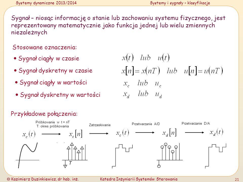 Systemy dynamiczne 2013/2014Systemy i sygnały - klasyfikacje Kazimierz Duzinkiewicz, dr hab. inż.Katedra Inżynierii Systemów Sterowania 21 Sygnał – ni