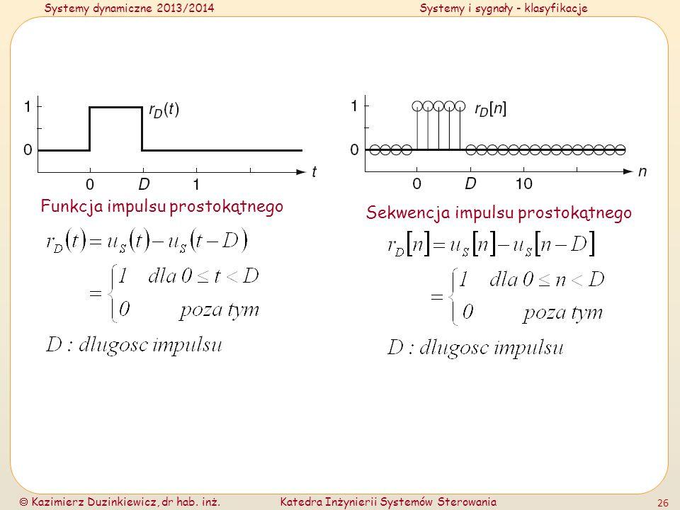 Systemy dynamiczne 2013/2014Systemy i sygnały - klasyfikacje Kazimierz Duzinkiewicz, dr hab. inż.Katedra Inżynierii Systemów Sterowania 26 Funkcja imp