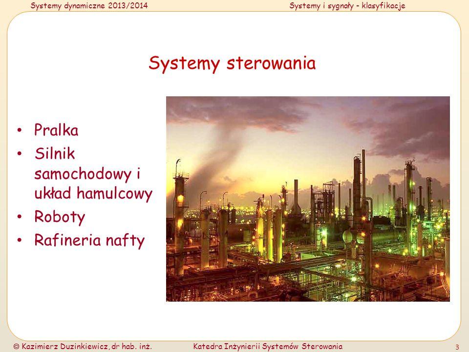Systemy dynamiczne 2013/2014Systemy i sygnały - klasyfikacje Kazimierz Duzinkiewicz, dr hab. inż.Katedra Inżynierii Systemów Sterowania 3 Systemy ster
