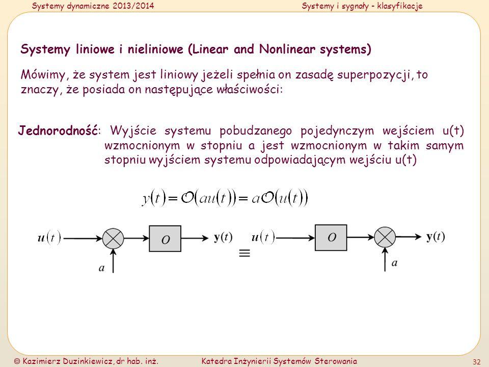 Systemy dynamiczne 2013/2014Systemy i sygnały - klasyfikacje Kazimierz Duzinkiewicz, dr hab. inż.Katedra Inżynierii Systemów Sterowania 32 Systemy lin