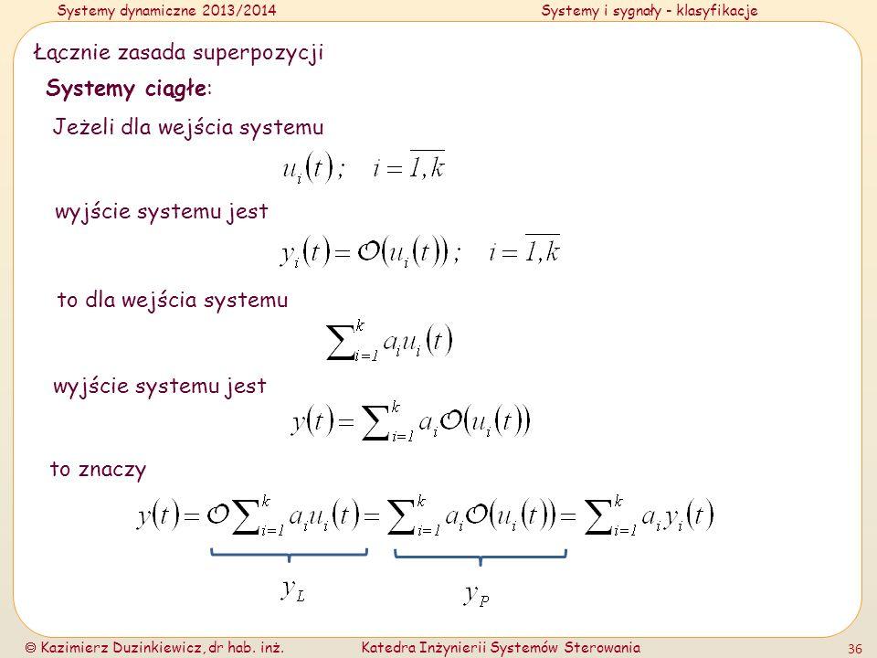 Systemy dynamiczne 2013/2014Systemy i sygnały - klasyfikacje Kazimierz Duzinkiewicz, dr hab. inż.Katedra Inżynierii Systemów Sterowania 36 Łącznie zas