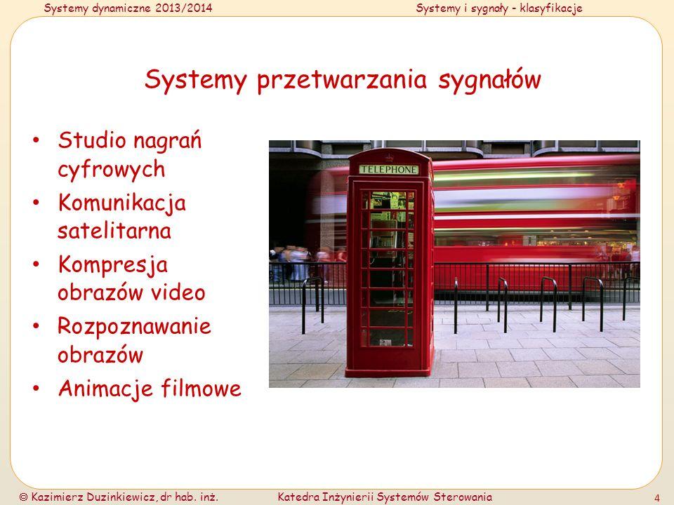 Systemy dynamiczne 2013/2014Systemy i sygnały - klasyfikacje Kazimierz Duzinkiewicz, dr hab. inż.Katedra Inżynierii Systemów Sterowania 4 Systemy prze