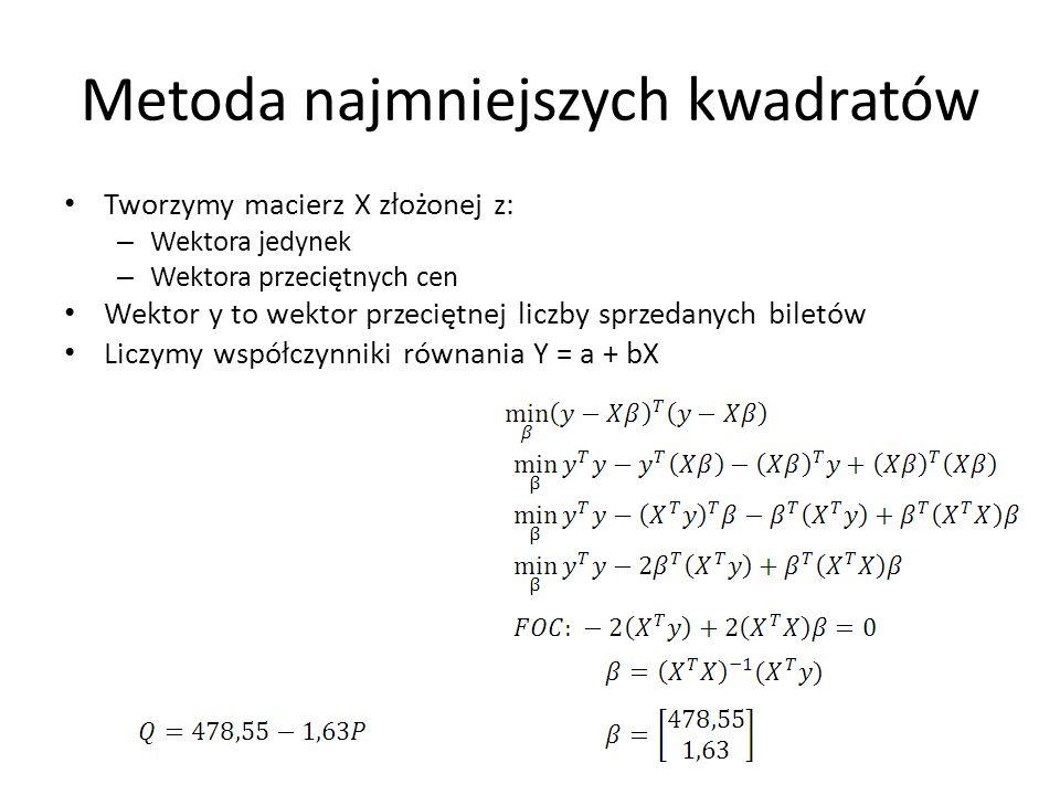 Metoda najmniejszych kwadratów Tworzymy macierz X złożonej z: – Wektora jedynek – Wektora przeciętnych cen Wektor y to wektor przeciętnej liczby sprze
