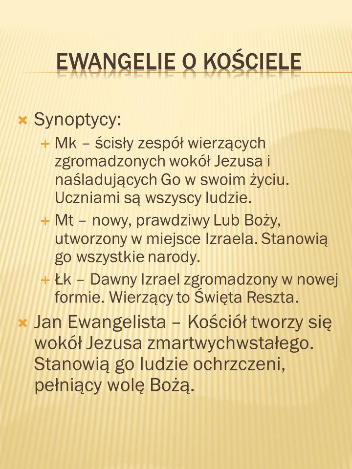 Synoptycy: Mk – ścisły zespół wierzących zgromadzonych wokół Jezusa i naśladujących Go w swoim życiu. Uczniami są wszyscy ludzie. Mt – nowy, prawdziwy