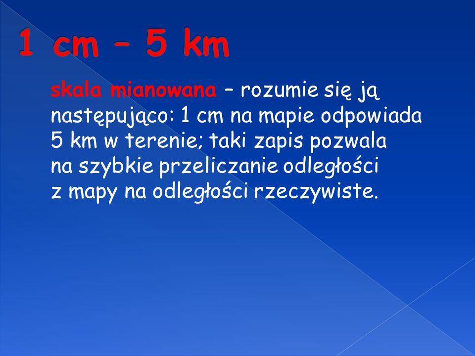 skala mianowana – rozumie się ją następująco: 1 cm na mapie odpowiada 5 km w terenie; taki zapis pozwala na szybkie przeliczanie odległości z mapy na