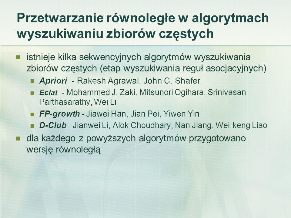 Przetwarzanie równoległe w algorytmach wyszukiwaniu zbiorów częstych istnieje kilka sekwencyjnych algorytmów wyszukiwania zbiorów częstych (etap wyszukiwania reguł asocjacyjnych) Apriori - Rakesh Agrawal, John C.