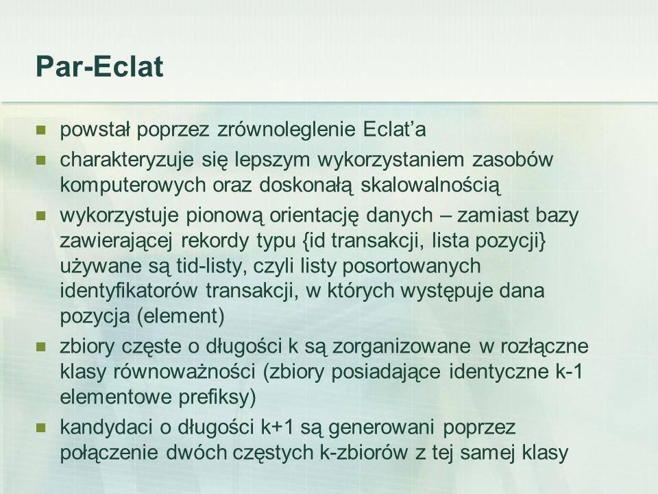 Par-Eclat powstał poprzez zrównoleglenie Eclata charakteryzuje się lepszym wykorzystaniem zasobów komputerowych oraz doskonałą skalowalnością wykorzystuje pionową orientację danych – zamiast bazy zawierającej rekordy typu {id transakcji, lista pozycji} używane są tid-listy, czyli listy posortowanych identyfikatorów transakcji, w których występuje dana pozycja (element) zbiory częste o długości k są zorganizowane w rozłączne klasy równoważności (zbiory posiadające identyczne k-1 elementowe prefiksy) kandydaci o długości k+1 są generowani poprzez połączenie dwóch częstych k-zbiorów z tej samej klasy