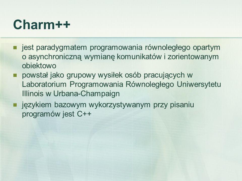 Charm++ jest paradygmatem programowania równoległego opartym o asynchroniczną wymianę komunikatów i zorientowanym obiektowo powstał jako grupowy wysiłek osób pracujących w Laboratorium Programowania Równoległego Uniwersytetu Illinois w Urbana-Champaign językiem bazowym wykorzystywanym przy pisaniu programów jest C++